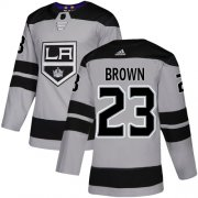 Wholesale Cheap Adidas Kings #23 Dustin Brown Gray Alternate Authentic Stitched Youth NHL Jersey