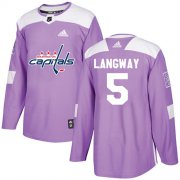 Wholesale Cheap Adidas Capitals #5 Rod Langway Purple Authentic Fights Cancer Stitched NHL Jersey