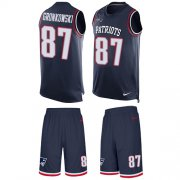 Wholesale Cheap Nike Patriots #87 Rob Gronkowski Navy Blue Team Color Men's Stitched NFL Limited Tank Top Suit Jersey