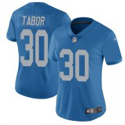 Wholesale Cheap Nike Lions #30 Teez Tabor Blue Throwback Women's Stitched NFL Vapor Untouchable Limited Jersey