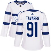 Wholesale Cheap Adidas Maple Leafs #91 John Tavares White Authentic 2018 Stadium Series Women's Stitched NHL Jersey