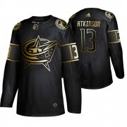 Wholesale Cheap Adidas Blue Jackets #13 Cam Atkinson Men's 2019 Black Golden Edition Authentic Stitched NHL Jersey