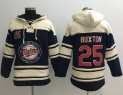 Wholesale Cheap Twins #25 Byron Buxton Navy Blue Sawyer Hooded Sweatshirt MLB Hoodie