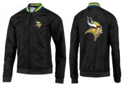 Wholesale Cheap NFL Minnesota Vikings Team Logo Jacket Black_3