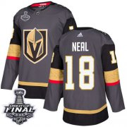 Wholesale Cheap Adidas Golden Knights #18 James Neal Grey Home Authentic 2018 Stanley Cup Final Stitched NHL Jersey