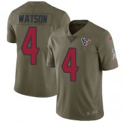 Wholesale Cheap Nike Texans #4 Deshaun Watson Olive Men's Stitched NFL Limited 2017 Salute to Service Jersey