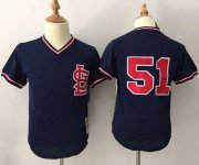 Wholesale Cheap Mitchell And Ness Cardinals #51 Willie McGee Navy Blue Throwback Stitched MLB Jersey