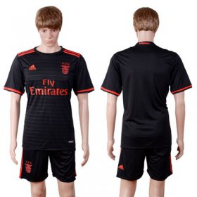 Wholesale Cheap 2016-17 Benfica Away Blank or Custom Soccer Men\'s Black Shirt Kit