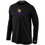 Wholesale Cheap Nike Minnesota Vikings Authentic Logo Long Sleeve T-Shirt Black