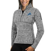 Wholesale Cheap Detroit Lions Antigua Women's Fortune Half-Zip Sweater Heather Gray