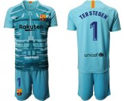 Wholesale Cheap Barcelona #1 Ter Stegen Light Blue Goalkeeper Soccer Club Jersey