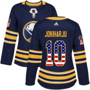 Wholesale Cheap Adidas Sabres #10 Henri Jokiharju Navy Blue Home Authentic USA Flag Women's Stitched NHL Jersey