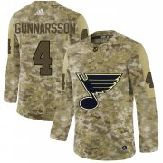 Wholesale Cheap Adidas Blues #4 Carl Gunnarsson Camo Authentic Stitched NHL Jersey