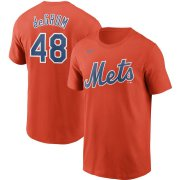 Wholesale Cheap New York Mets #48 Jacob deGrom Nike Name & Number T-Shirt Orange