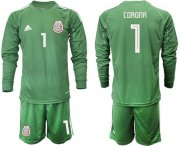 Wholesale Cheap Mexico #1 Corona Green Long Sleeves Goalkeeper Soccer Country Jersey
