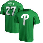 Wholesale Cheap Philadelphia Phillies #27 Aaron Nola Majestic St. Patrick's Day Stack Player Name & Number T-Shirt Kelly Green