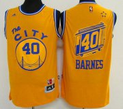 Wholesale Cheap Men's Golden State Warriors #40 Harrison Barnes Revolution 30 Swingman 2015-16 Retro Yellow Jersey