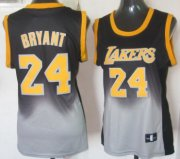 Wholesale Cheap Los Angeles Lakers #24 Kobe Bryant Black/Gray Fadeaway Fashion Womens Jersey