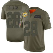 Wholesale Cheap Nike Packers #28 AJ Dillon Camo Men's Stitched NFL Limited 2019 Salute To Service Jersey