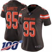 Wholesale Cheap Nike Browns #95 Myles Garrett Brown Team Color Women's Stitched NFL 100th Season Vapor Limited Jersey