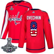 Wholesale Cheap Adidas Capitals #8 Alex Ovechkin Red Home Authentic USA Flag Stanley Cup Final Champions Stitched NHL Jersey