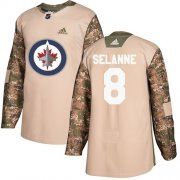Wholesale Cheap Adidas Jets #8 Teemu Selanne Camo Authentic 2017 Veterans Day Stitched NHL Jersey