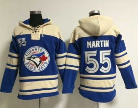 Wholesale Cheap Blue Jays #55 Russell Martin Blue Sawyer Hooded Sweatshirt MLB Hoodie