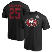 Wholesale Cheap Men's San Francisco 49ers #25 Richard Sherman NFL Black Super Bowl LIV Bound Halfback Player Name & Number T-Shirt