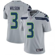 Wholesale Cheap Nike Seahawks #3 Russell Wilson Grey Alternate Men's Stitched NFL Vapor Untouchable Limited Jersey
