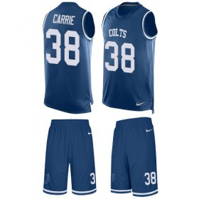 Wholesale Cheap Nike Colts #38 T.J. Carrie Royal Blue Team Color Men\'s Stitched NFL Limited Tank Top Suit Jersey