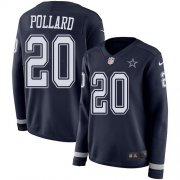 Wholesale Cheap Nike Cowboys #20 Tony Pollard Navy Blue Team Color Women's Stitched NFL Limited Therma Long Sleeve Jersey