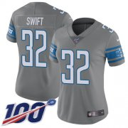 Wholesale Cheap Nike Lions #32 D'Andre Swift Gray Women's Stitched NFL Limited Rush 100th Season Jersey