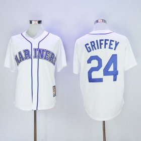 Wholesale Cheap Mariners #24 Ken Griffey White Cooperstown 2016 Hall Of Fame Patch Stitched MLB Jersey