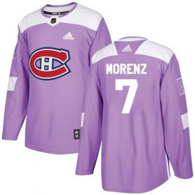Wholesale Cheap Adidas Canadiens #7 Howie Morenz Purple Authentic Fights Cancer Stitched NHL Jersey