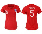 Wholesale Cheap Women's England #5 Stones Away Soccer Country Jersey