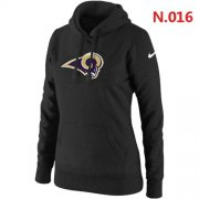Wholesale Cheap Women's Los Angeles Rams Logo Pullover Hoodie Black