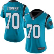 Wholesale Cheap Nike Panthers #70 Trai Turner Blue Women's Stitched NFL Limited Rush Jersey