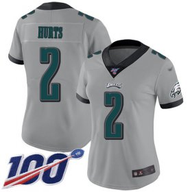 Wholesale Cheap Nike Eagles #2 Jalen Hurts Silver Women\'s Stitched NFL Limited Inverted Legend 100th Season Jersey