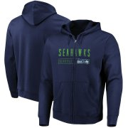 Wholesale Cheap Seattle Seahawks Majestic Hyper Stack Full-Zip Hoodie College Navy