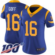 Wholesale Cheap Nike Rams #16 Jared Goff Royal Blue Alternate Women's Stitched NFL 100th Season Vapor Limited Jersey