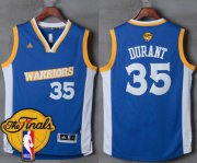 Wholesale Cheap Men's Warriors #35 Kevin Durant Royal Stretch Crossover 2017 The Finals Patch Stitched NBA Jersey