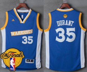Wholesale Cheap Men\'s Warriors #35 Kevin Durant Royal Stretch Crossover 2017 The Finals Patch Stitched NBA Jersey