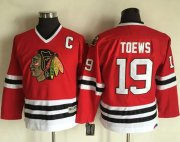 Wholesale Cheap Blackhawks #19 Jonathan Toews Red CCM Throwback Stitched Youth NHL Jersey