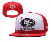 Wholesale Cheap 49ers Team Logo White Red 2019 Draft Adjustable Hat YD