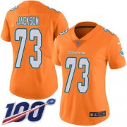 Wholesale Cheap Nike Dolphins #73 Austin Jackson Orangen Women's Stitched NFL Limited Rush 100th Season Jersey