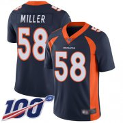 Wholesale Cheap Nike Broncos #58 Von Miller Navy Blue Alternate Men's Stitched NFL 100th Season Vapor Limited Jersey