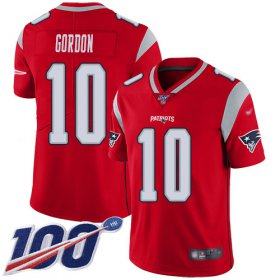 Wholesale Cheap Nike Patriots #10 Josh Gordon Red Men\'s Stitched NFL Limited Inverted Legend 100th Season Jersey