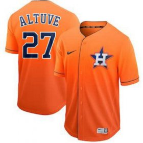 Wholesale Cheap Nike Astros #27 Jose Altuve Orange Fade Authentic Stitched MLB Jersey