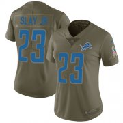 Wholesale Cheap Nike Lions #23 Darius Slay Jr Olive Women's Stitched NFL Limited 2017 Salute to Service Jersey