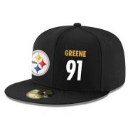 Wholesale Cheap Pittsburgh Steelers #91 Kevin Greene Snapback Cap NFL Player Black with White Number Stitched Hat